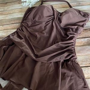 Always For Me Brown One Piece Swim Suit Size 22W
